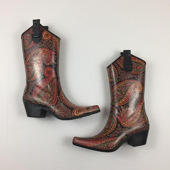 4d4ca5c1990 💘 CORKYS Paisley Rodeo Rain Boots